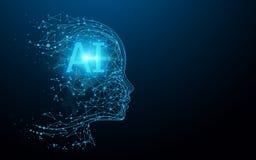 AI - intelligence artificielle Cerveau num?rique d'AI Concept de robotique Visage humain fait à partir du polygone vecteur d'illu illustration stock