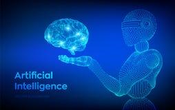 AI Intelligence artificielle AI sous forme de cyborg ou de bot de femme Robot de Wireframe Cerveau de Digital Cerveau dans la mai