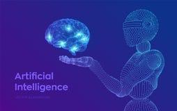 AI Intelligence artificielle AI sous forme de cyborg ou de bot Robot de Wireframe Cerveau de Digital Cerveau dans la main robotiq