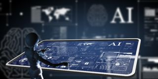 AI, intelligence artificielle travaillant à l'écran de pointe de mornitor Photo libre de droits