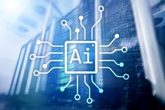 AI, intelligenza artificiale, automazione e concetto moderno di tecnologia dell'informazione sullo schermo virtuale immagine stock libera da diritti
