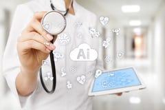 AI, intelligenza artificiale, nella tecnologia medica moderna IOT e automazione fotografie stock libere da diritti