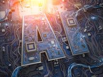 AI, künstliche Intelligenz Computer-Chips mit CPU in der Form des Textes AI lizenzfreies stockbild
