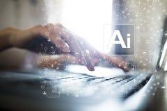 AI, künstliche Intelligenz, Lernfähigkeit einer Maschine, neurale Netze und moderne Technologiekonzepte IOT und Automatisierung stockbild