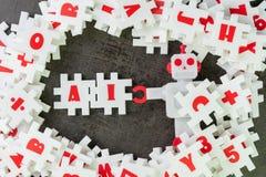 AI, künstliche Intelligenz mit dem tiefen Lernen oder Maschinenlernkonzept, weiße Puzzlespiellaubsäge, die das Wort AI mit nettem stockbild