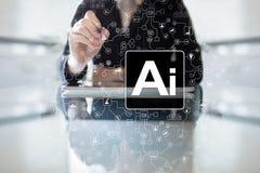 AI - Konstgjord intelligens, smart teknologi och innovation i branschaffär och livbegrepp på den faktiska skärmen arkivfoton