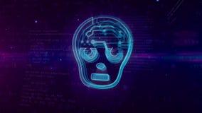AI - kunstmatige intelligentie abstract concept met humanoidhoofd stock illustratie
