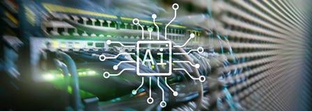 AI, Kunstmatige intelligentie, automatisering en modern informatietechnologie concept op het virtuele scherm royalty-vrije stock foto