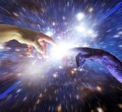 AI Kunstmatige intelligentie Intelligente Hand van Cyborg-God royalty-vrije stock afbeelding