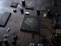 AI, Leiterplatte der künstlichen Intelligenz stockfotos