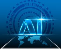 AI Letter Digital Artificial intelligence with World map cyber stock illustration