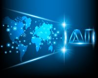 AI Letter Digital Artificial intelligence with World map cyber royalty free illustration