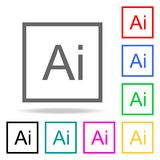 AI Letter sign icon. Elements in multi colored icons for mobile concept and web apps. Icons for website design and development, ap. P development on white Stock Photography