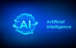 AI Logo d'intelligence artificielle Concept d'intelligence artificielle et d'apprentissage automatique Vague de grille de sph?re