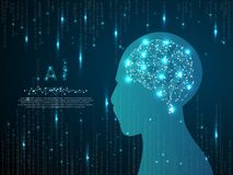 Ai móżdżkowego niskiego poli- robota wireframe Wektorowy poligonalny telefon komórkowy z gradientowym błękitnym ekranem z mężczyz ilustracja wektor