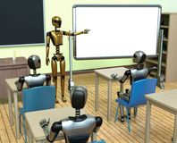 AI machine learning robot technology future. Robots machine learning data base automation in cyber technology classroom from robot teacher Stock Images