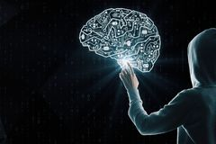 AI and malware concept. Hacker with circuit brain interface on black background. AI and malware concept stock photos