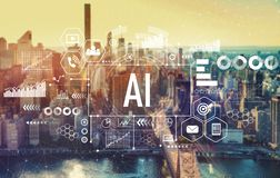 AI met de Stad van New York stock foto's
