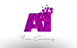 AI A mim Dots Letter Logo com textura roxa das bolhas ilustração do vetor