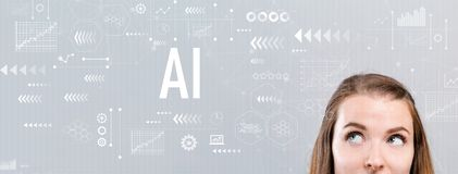 AI mit junger Frau lizenzfreie stockfotografie