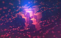 AI. Neural networks and artificial intelligence. Concept of cyberspace. Abstract technological background 3d illustration royalty free illustration