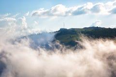 Ai Petri, Crimea. Clouds move below rocks on the mountain Ai Petri, Crimea royalty free stock photos