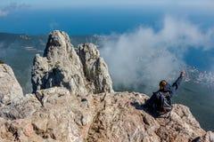 Ai-Petri, Krim - September 2014: Südliche Küste von Krim, Zinnen des Bergs Ai-Petri stockbilder