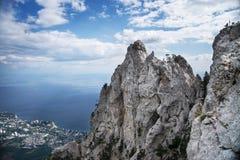 Ai-Petri mountain in Crimea with blue sky. Aerial view of Yalta city from Ai-Petri mountain in Crimea stock photos