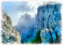 Ai-Petri mountain in Crimea. Cliffs covered by fog. Digital imitation of watercolor painting royalty free illustration