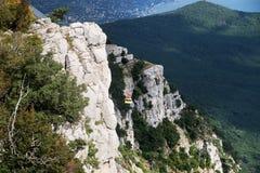 Ai-Petri mountain in Crimea with funiular. Ai-Petri mountain in Crimea with cableway royalty free stock images
