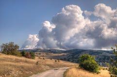 Ai-Petri is a mountain in Crimean region. Crimea Ai-Petri plateau From the gorge rise dense clouds stock photography