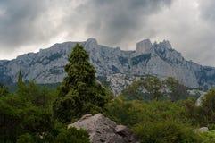 Ai-Petri mountain landscape. Dark sky. Mountain landscape in the Crimean Mountains. Ai-Petri stock image