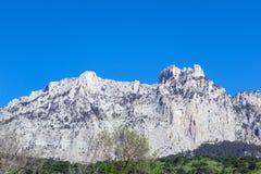 Ai-Petri mountain range on the Black Sea coast. View of the mountains from the village of Koreiz royalty free stock images