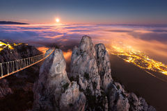 Ai-Petri. Night, Full Moon. (Crimea Stock Photo