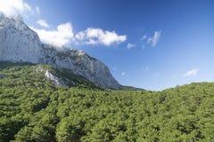 Ai-Petri rock under blue sky. The green hills around. Ukraine. C. Ukraine. The Crimea peninsula. Ai-Petri rock on background royalty free stock photo