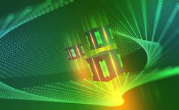 ai Quantum计算机体系结构 网际空间摘要概念 Blockchain?? 向量例证