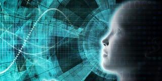AI que processa a aprendizagem profunda da educação ilustração stock