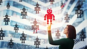AI recruitment. Smiling businesswoman pointing finger up, choosing a different robot. Employee choice, group of artificial intellect replace human, leadership stock photo
