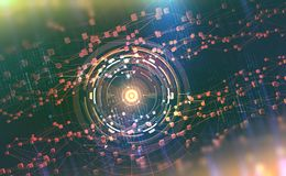 ai Redes neurais e inteligência artificial Conceito do Cyberspace Fundo tecnológico abstrato ilustração stock