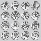 AI related icons set on background for graphic and web design. Simple illustration. Internet concept symbol for website. Button or mobile app stock illustration