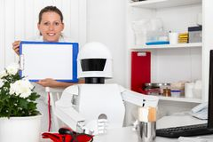 Ai robot as professional doctor in his office Royalty Free Stock Images