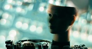 Ai robot head, new technology cyber brain project. Robot head and defocused circuit board, artificial intelligence concept stock photo