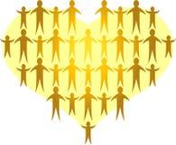 ai rodziny tworzą złotego serce Zdjęcie Royalty Free