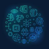 AI round outline blue illustration on dark background. AI round outline blue illustration. Artificial Intelligence and Digital Brain vector linear icons in royalty free illustration