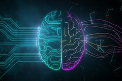 AI and software concept. Creative digital brain background with circuit. AI and software concept. 3D Rendering stock illustration