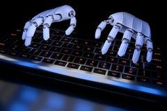 Ai som l?r begreppsroboth?nder som skriver p? tangentbordet, tangentbord Robotic armcyborg som anv?nder datoren 3D framf?r den re royaltyfri illustrationer
