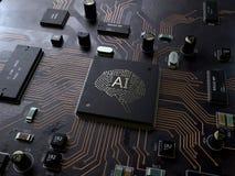 AI strömkretsbräde för konstgjord intelligens arkivfoton