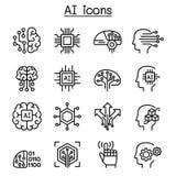 AI symbolsuppsättning för konstgjord intelligens i den tunna linjen stil royaltyfri illustrationer