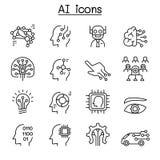 AI symbolsuppsättning för konstgjord intelligens i den tunna linjen stil stock illustrationer