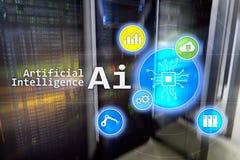 AI, Sztuczna inteligencja, automatyzacja i nowożytny technologie informacyjne pojęcie na wirtualnym ekranie, fotografia stock